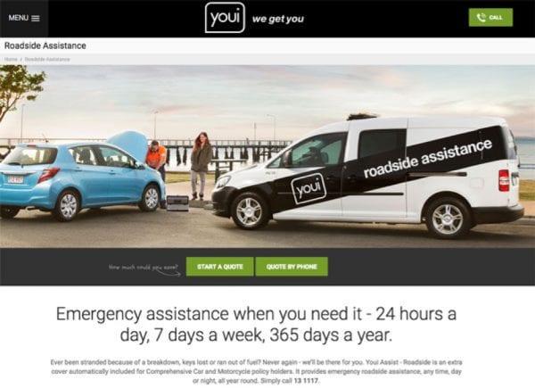 Screenshot from youi website of roadside assistance