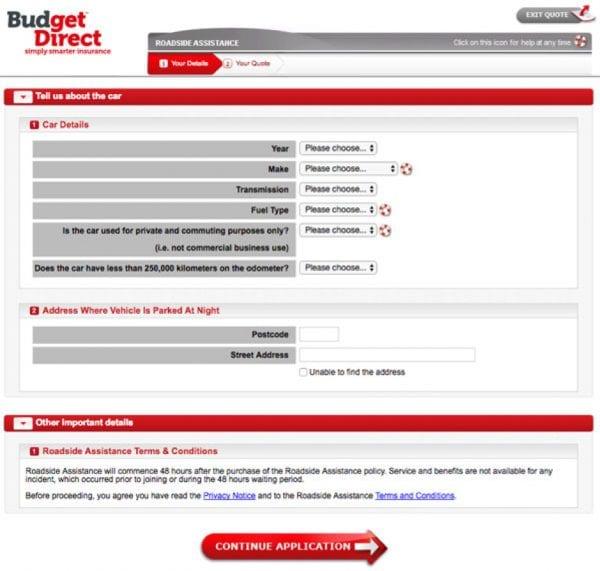 Screenshot of Budegt Direct roadside assistance form