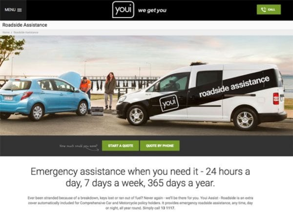 Screenshot from youi website of roadside assistance