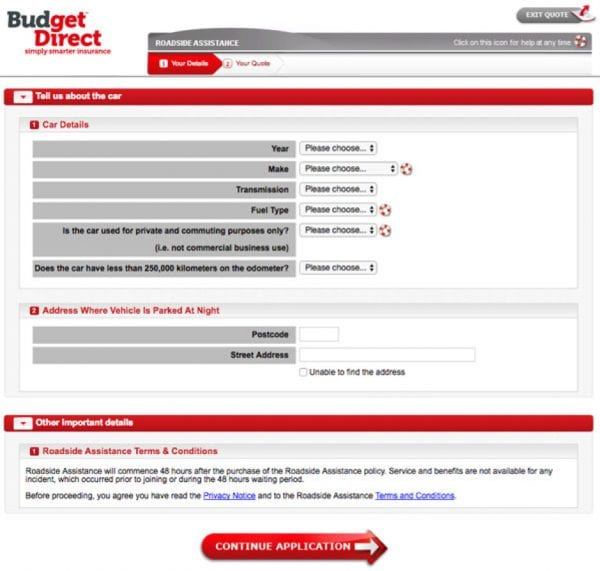 Screenshot of Budegt Direct roadside assistance form