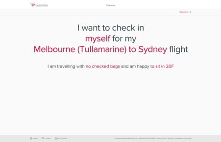 Screenshot of flight booking